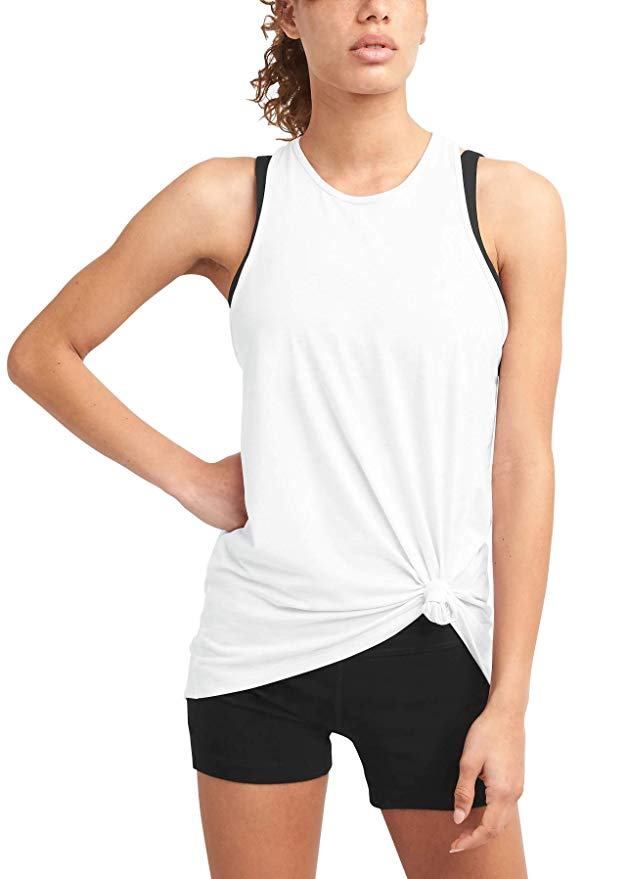 OEM women's lightweight merino rib-knit baselayer tank tops high quality stripe racerback for sports