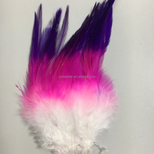 6-8inch dyed rooster hackle saddle feathers in three color