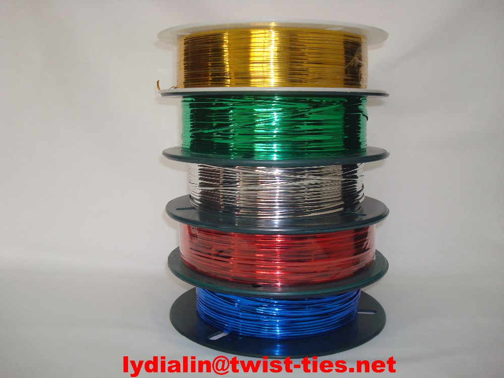 Japan hot sale Hongda 1000mts gold/silver roll Twist Tie / metallic spool twist ties forBread and Gift Store Packaging