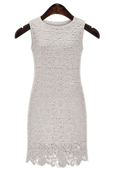 2015 summer New Sexy Round Neck Sleeveless Solid Color Cut Out Lace slim Dress For Women