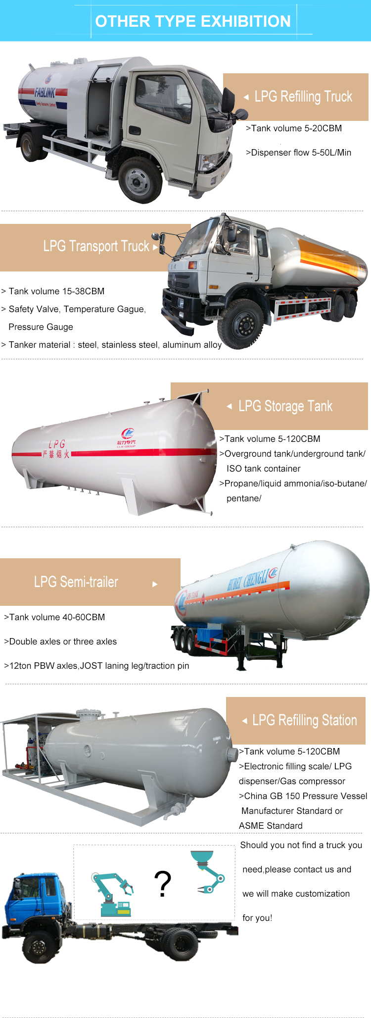 three axles 55CBM 55000L LPG semi trailer with HINO tractor truck