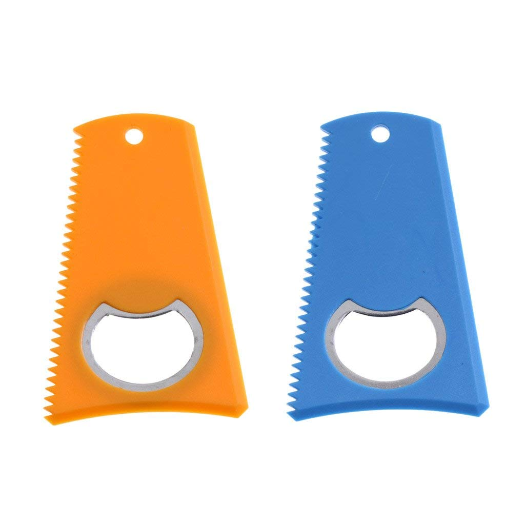 "MonkeyJack 2 Pieces 3.15"" x 2"" Plastic Surfing Surfboard SUP Kite Wake Board Care Wax Comb Wax Scraper Remover with Bottle Opener & Lanyard Hole Blue + Yellow"