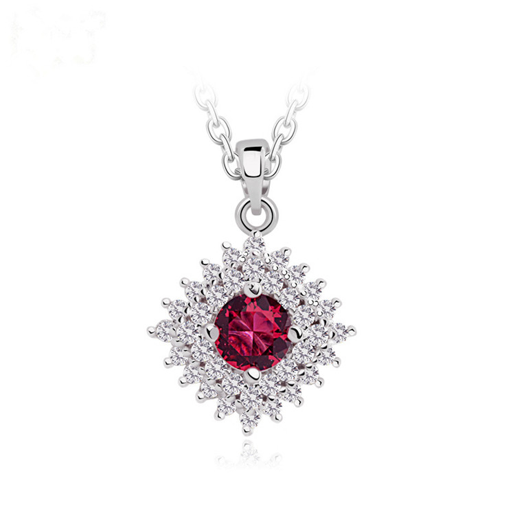 Women Square Round Cut Colorful Red Diamond Crystal Ruby Cubic Zirconia Wedding Necklace