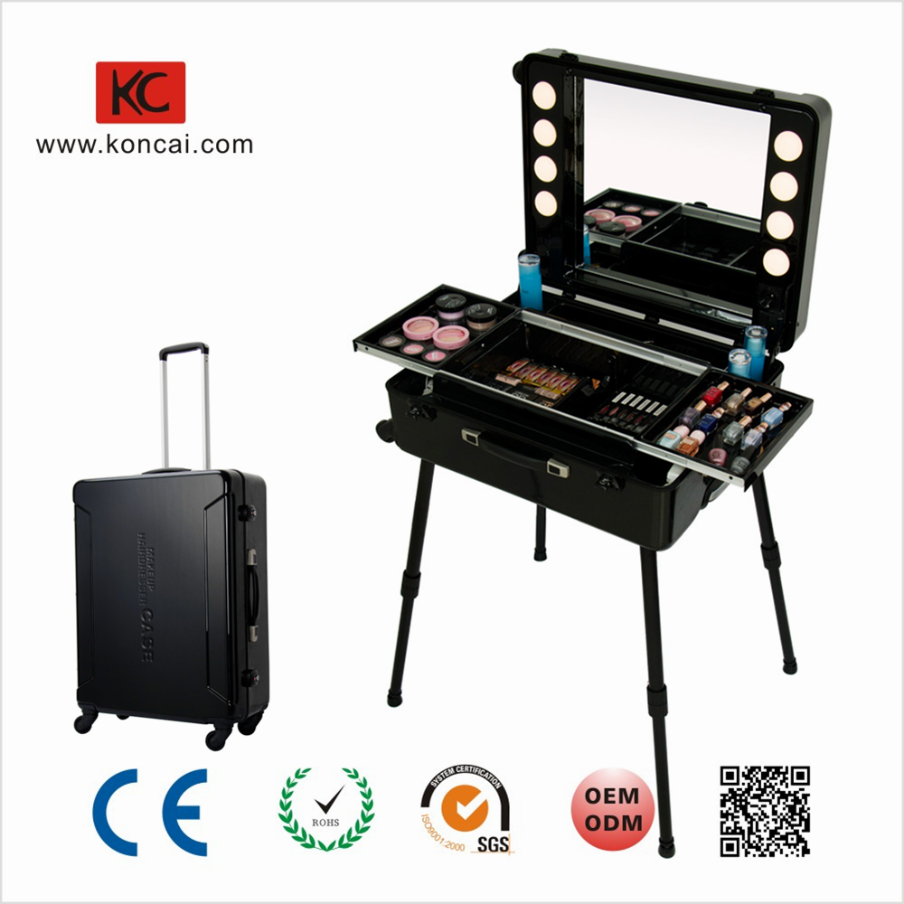 Moulding PC Shell 8 Light Bulbs Customs Lock Nail Oil Storage Built-In Extend Tray Makeup Trolley Bag