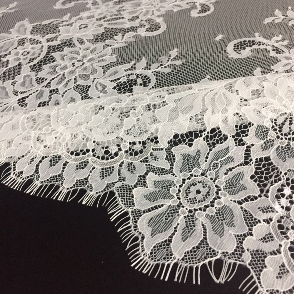 Fashion Eyelash Lace Off White 100% Nylon Bridal Lace Trim