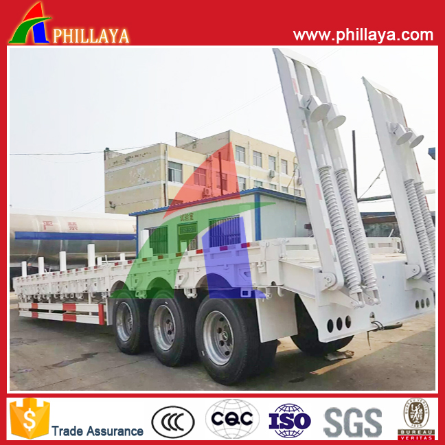Tri-axle 80T low bed semi trailer for steel coil transport