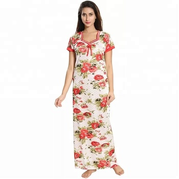 Printed rayon short sleeve and long nightgown sleepwear fancy cotton nighty  india for fat women pics d72ff62f4