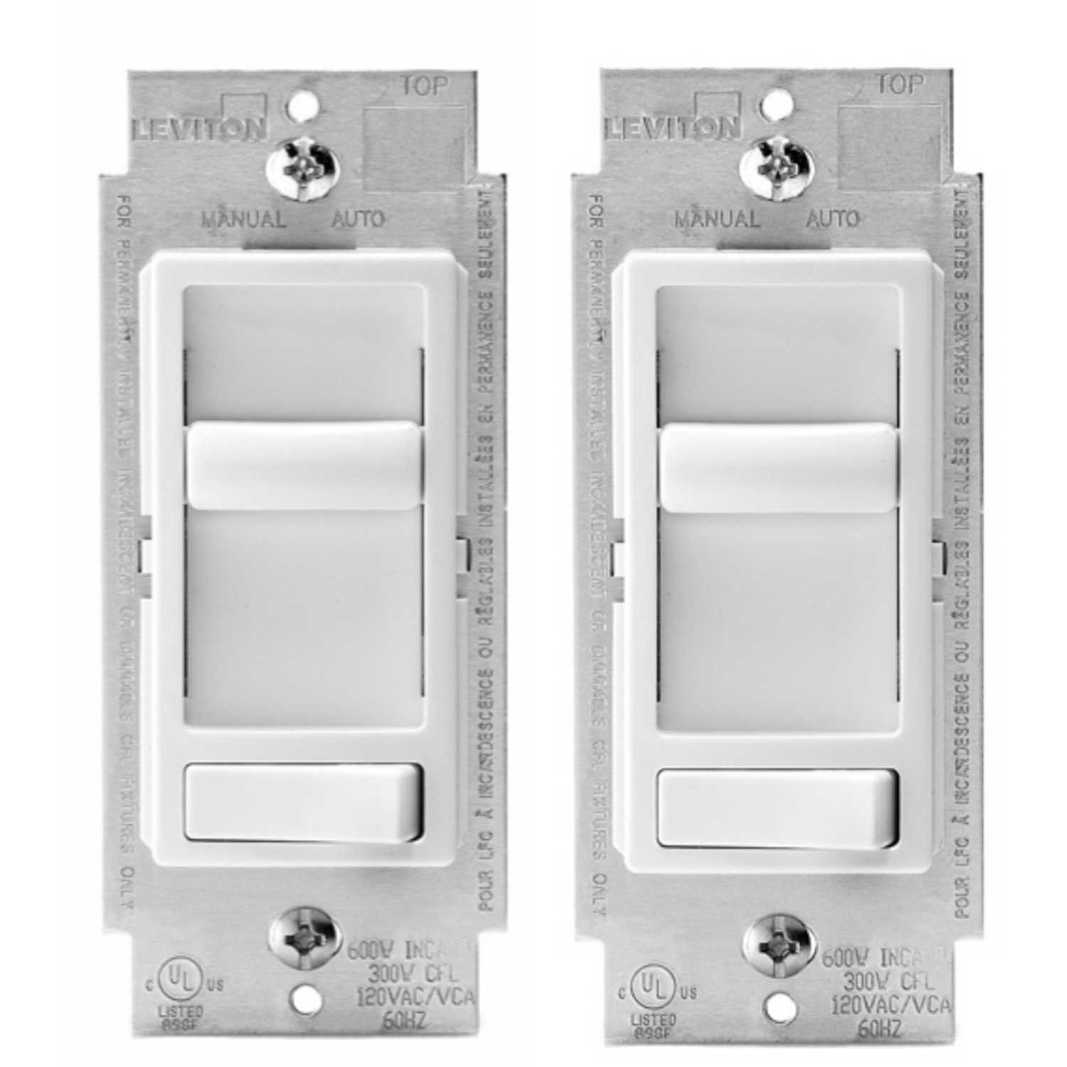 Leviton 6674-P0W SureSlide Universal 150-Watt LED and CFL/600-Watt Incandescent Dimmer, White, 2 Pack