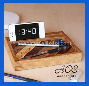 Rustic Solid Wood Customization Wooden Phone Holder with Logo Pen Tray Pad Stand Mini Storage Box on Desk