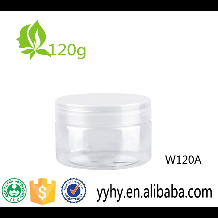 clear 120ml hair gel face cream PET plastic jar or food container
