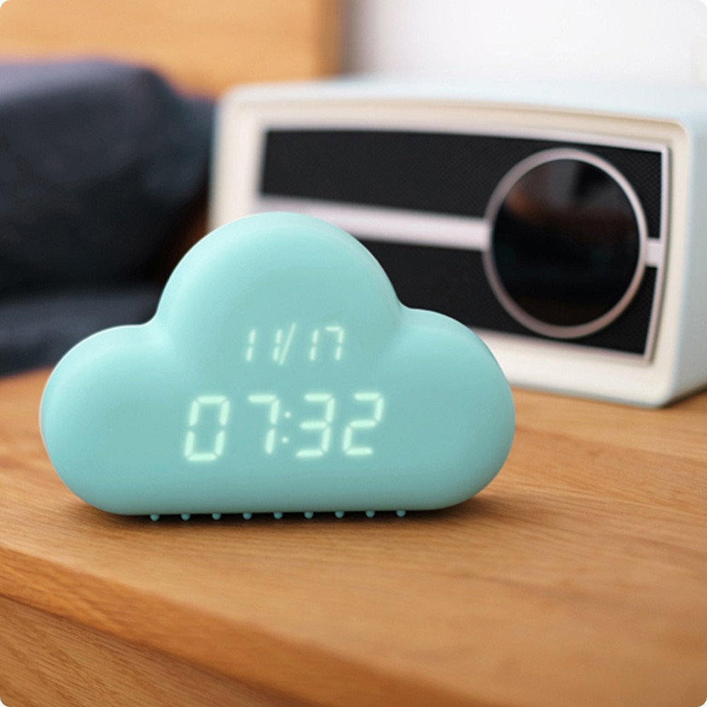 Cloud Shape Table Alarm Clock/Modern creative triangle LED Sound sensor decorative wooden desk table pretty digital alarm clock