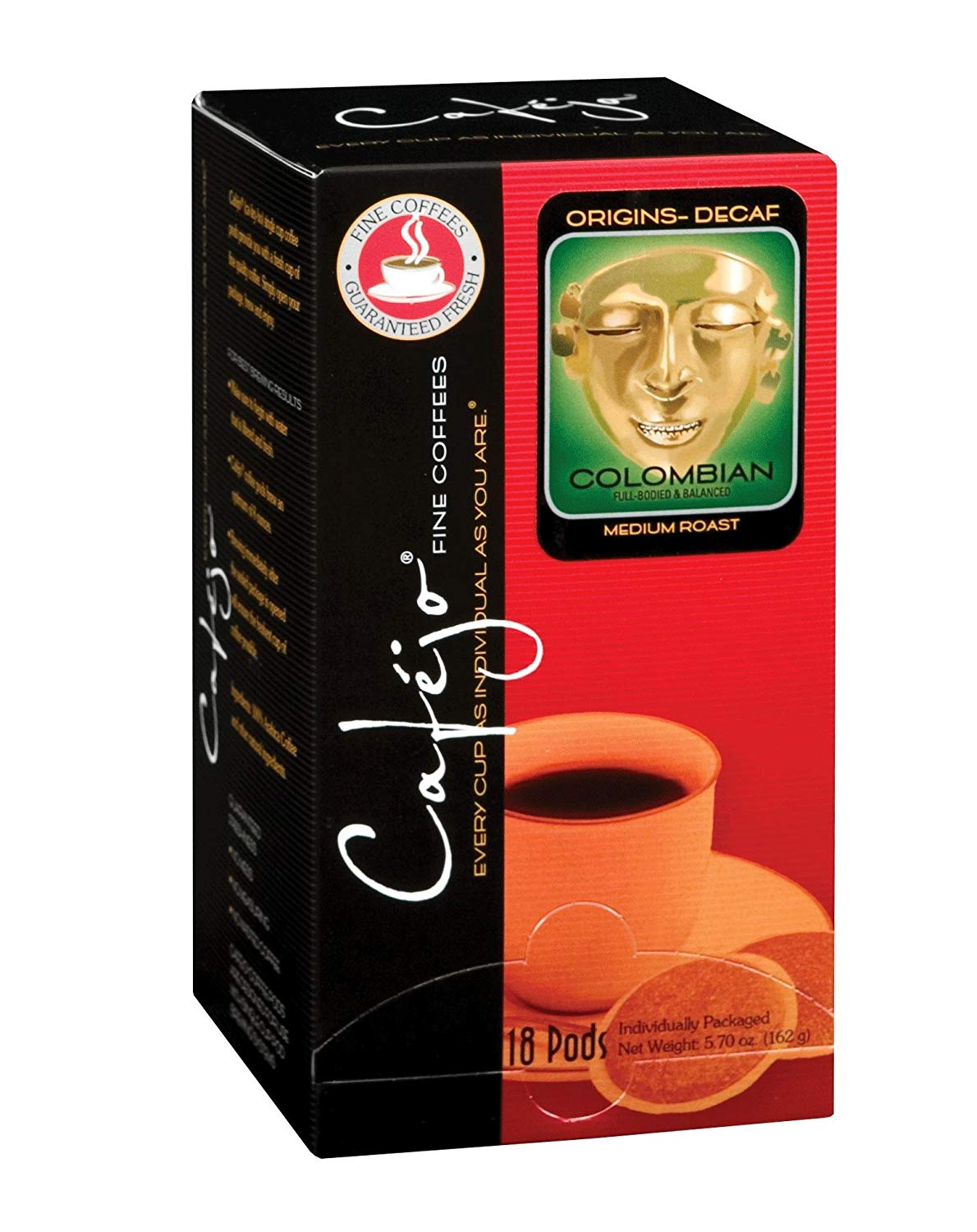 Cafejo Decaf Colombian Coffee Pod 72 Count