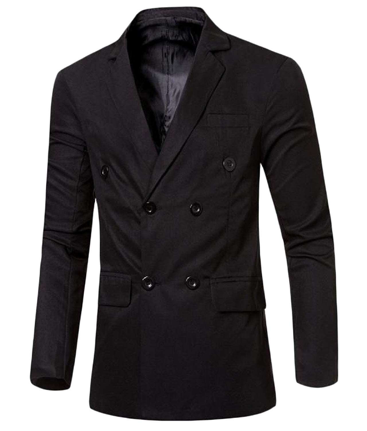 Comfy Mens Trim-Fit Solid Color Double-breasted Blazer Jacket Suit