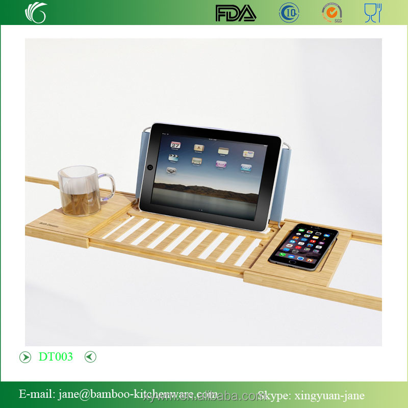 Dt003 Bamboo Bathtub Caddy Tray With Extending Sides And Bath Table ...