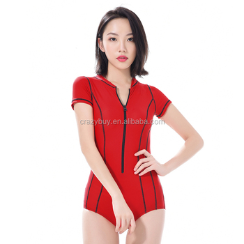 Pure red color zipper design surfing suit one piece swimsuit