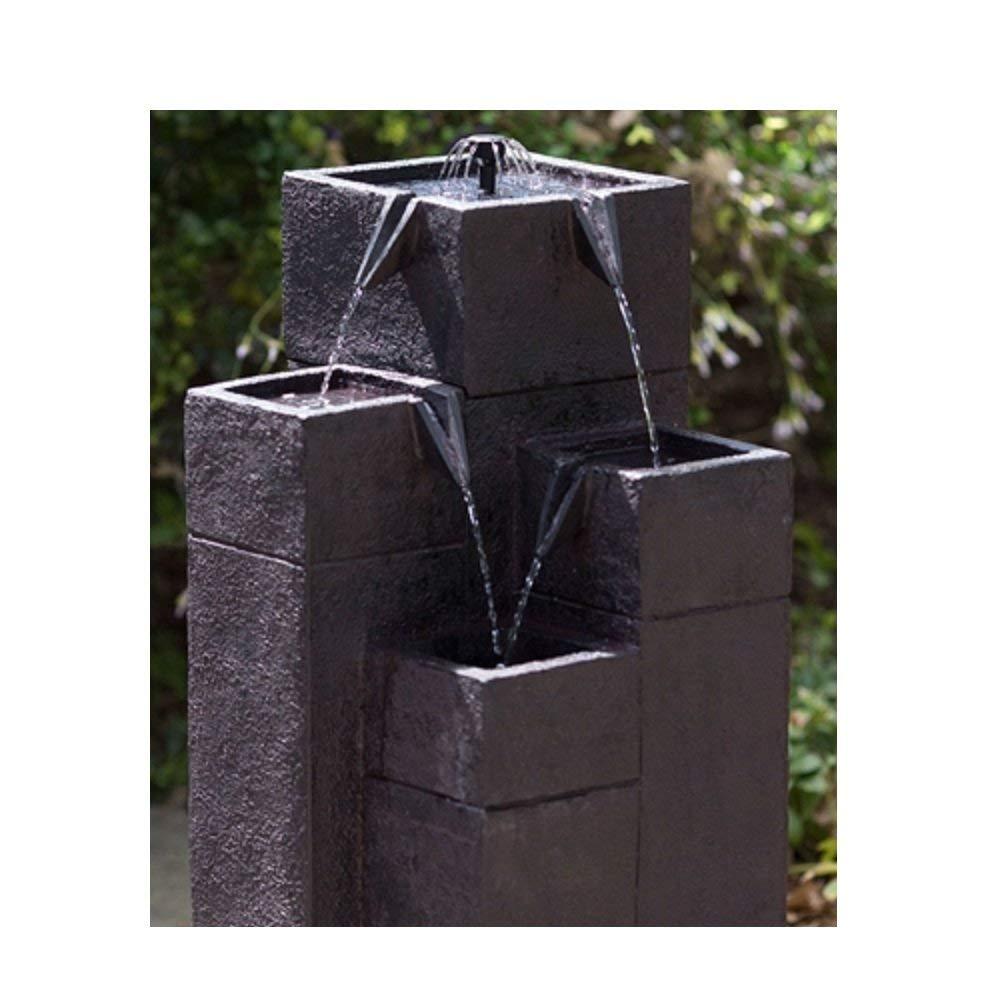 Svitlife Modern Outdoor Garden 4-Tiered Fountain with Solar Pump Solar Pump Fountain Water Garden Bird Bath Outdoor Powered Ceramic Kit