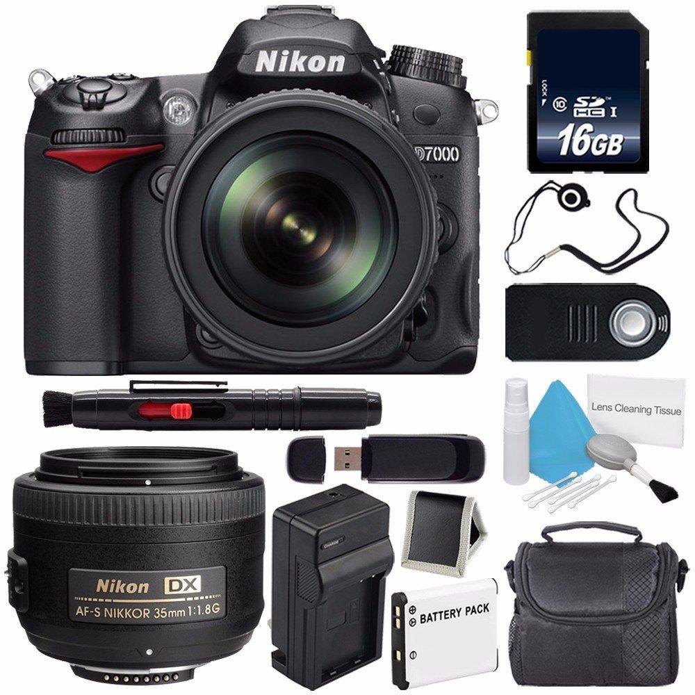 Nikon D7000 DSLR Camera Kit with Nikon 18-105mm f/3.5-5.6G ED VR Lens (International Model) No Warranty + Nikon AF-S DX NIKKOR 35mm f/1.8G Lens+ SD Card USB Reader Bundle 67