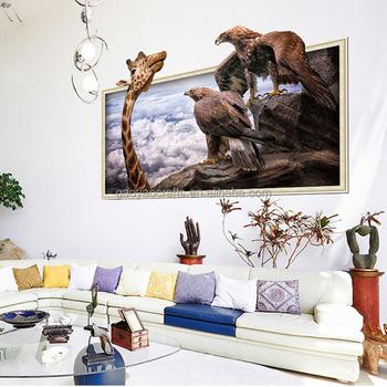 big giraffe 3d wall stickers waterproof vinyl animal wall poster for