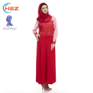 Zakiyyah MD828 latest design muslim dress with hijab for lady popular long sleeve maxi dress abaya modern