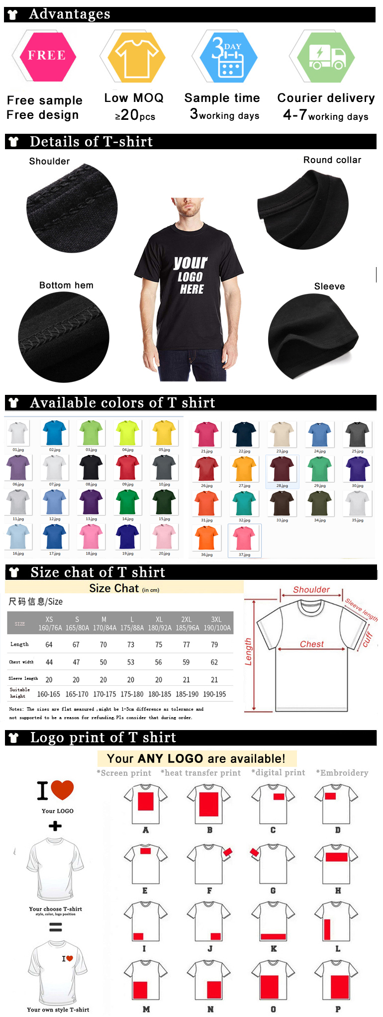2019 blank plain t-shirt with oem logo t shirt custom design t shirt
