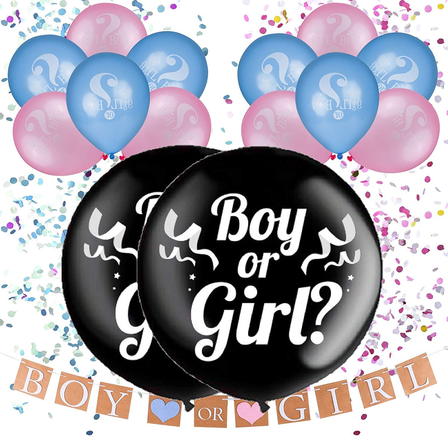 "36"" Gender Reveal Balloon with Confetti, Pink and Blue""Boy or Girl"" Balloons and Banner Decorations, Baby Shower Party Decor"