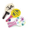 Hot sale standard beach paddle racket with ball,colorful summer sunny wood beach tennis racket ball set