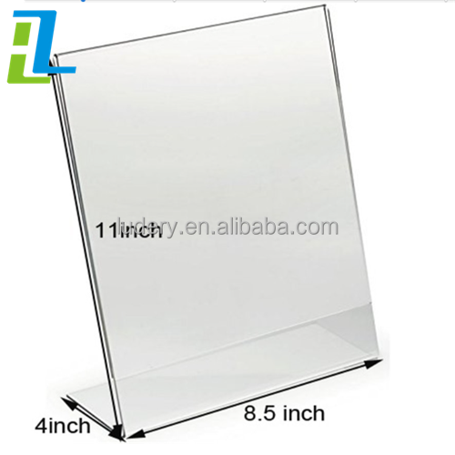 slant L shaped plexiglass counter top magnetic acrylic table <strong>display</strong> A6 A4 A5 clear plastic sign holder