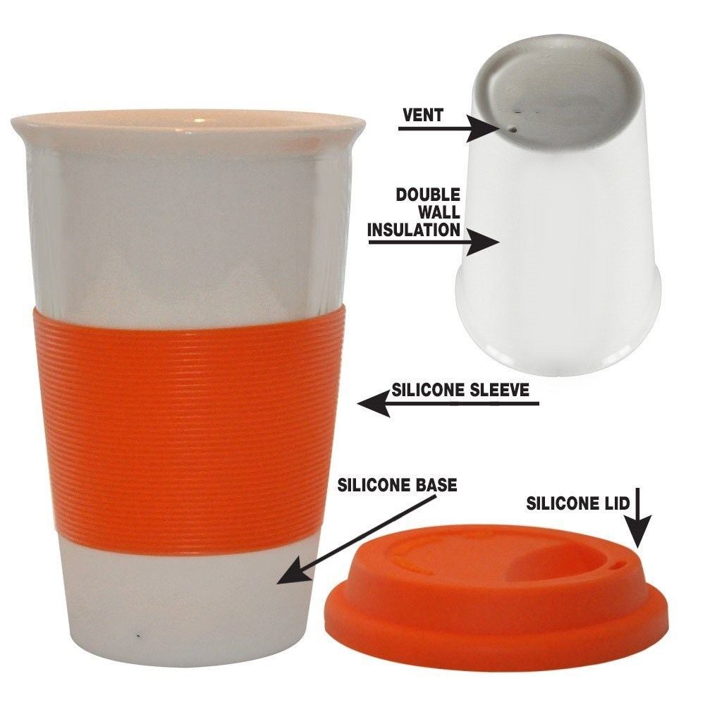 Double Wall Ceramic Travel Mug Silicone Lid Sleeve White Silicone Non-Slip Base Comfortable Grip