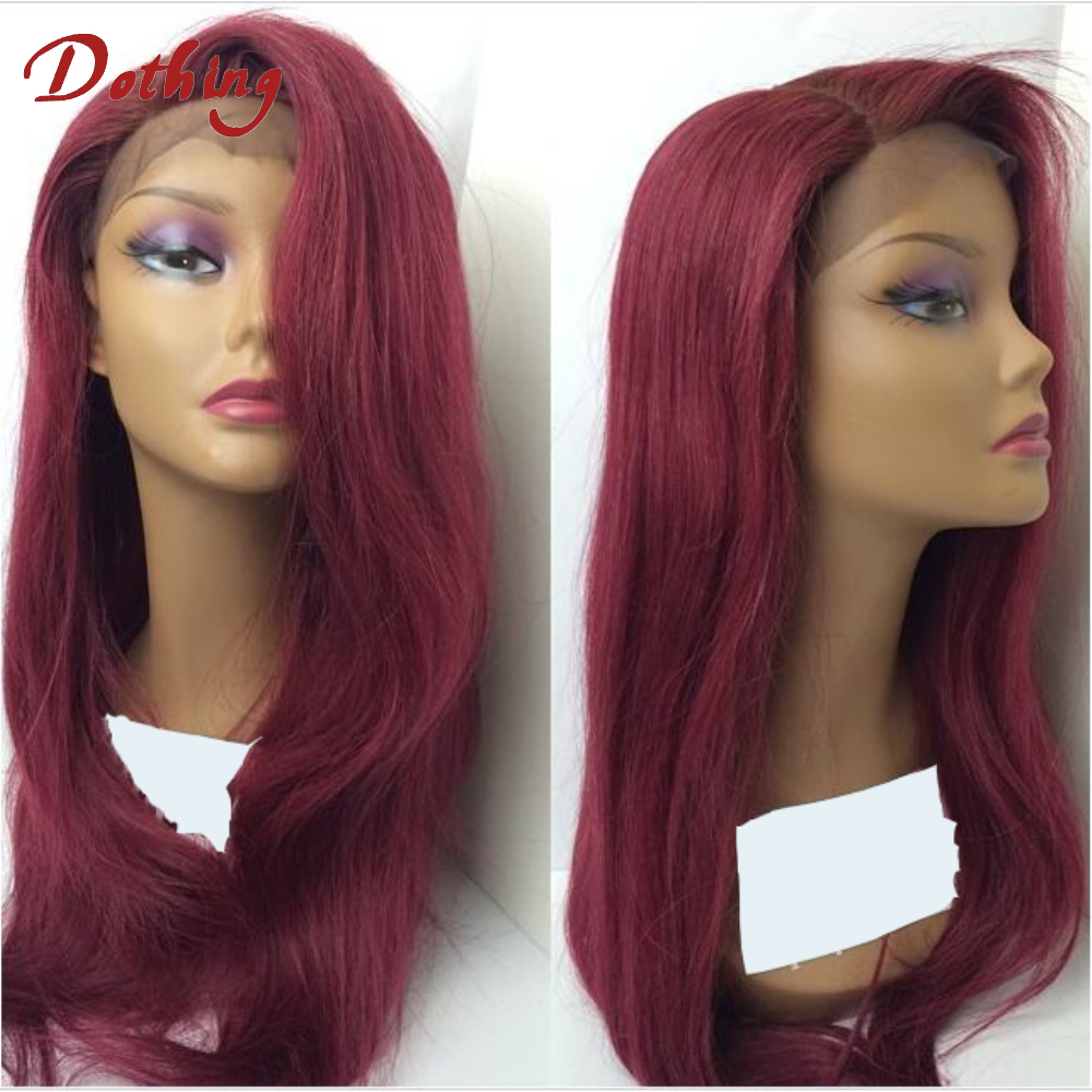 Hot Selling 99# Virgin Silky straight Human Hair Unprocessed Russian Full Lace Wigs With Clips 130 Density