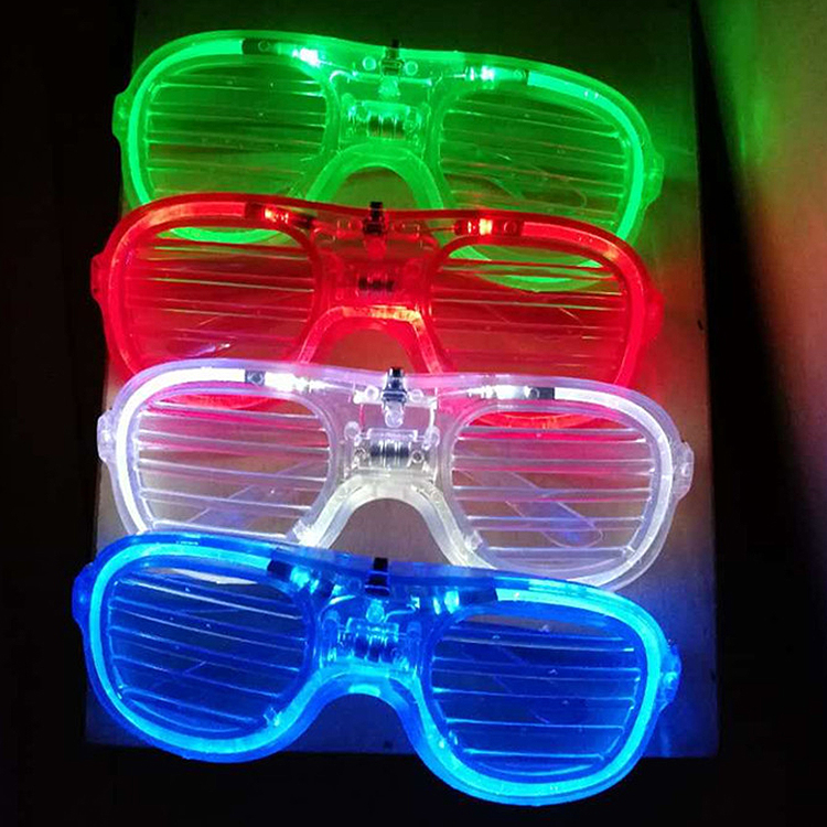 Factory direct sale LED temples shutter funny glasses with blinds for party
