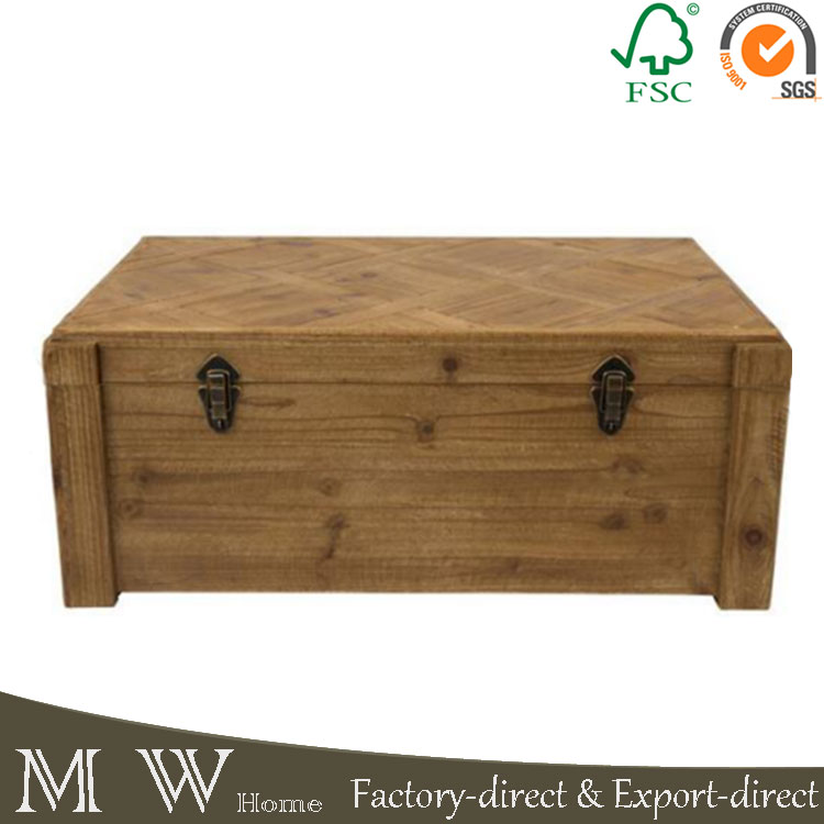 Vintage Reclaimed Fir Wooden Rustic Storage Box With Metal Buckle Closure