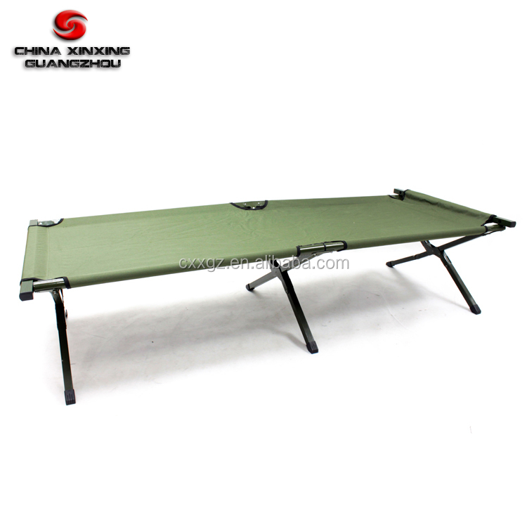 High quality Aluminum Steel Folding Foldable Army Cot Military Camping Bed with 600D carrying bag