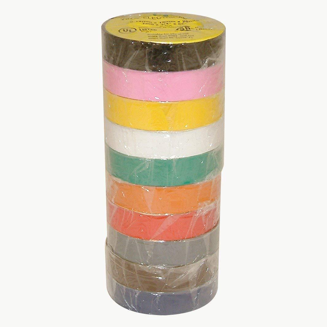 "J.V. Converting E-TAPE-PACK/RAINB07522 JVCC E-Tape Electrical Tape Rainbow Pack, 66' Length x 3/4"" Width, Rainbow Pack Colors"