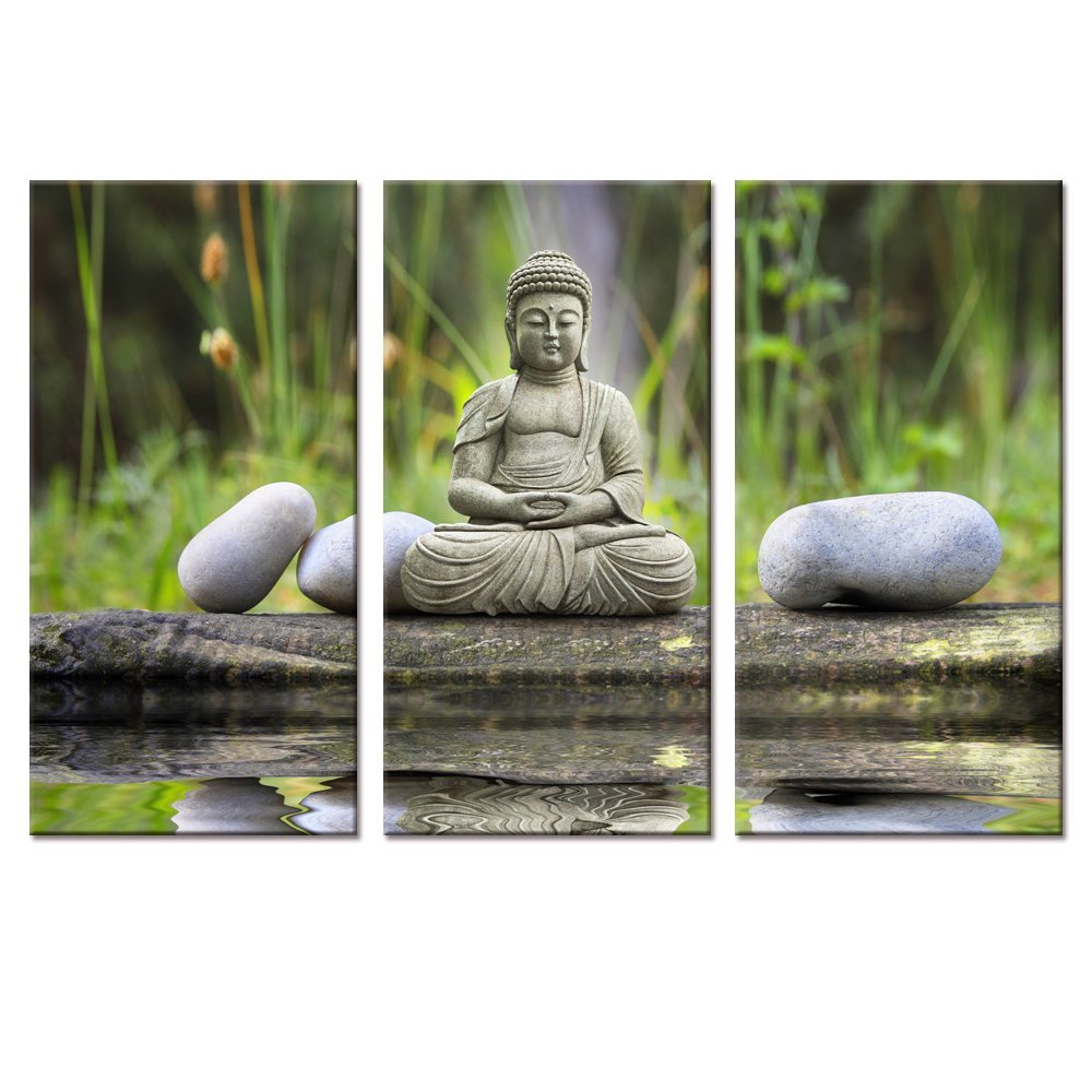 Buddhas Canvas Wall Art,Zen Stone Canvas Print,Peaceful Buddha Canvas Print,Yoga Room Wall Buddha Decoration,Framed and Stretched,Ready to Hang on Wall