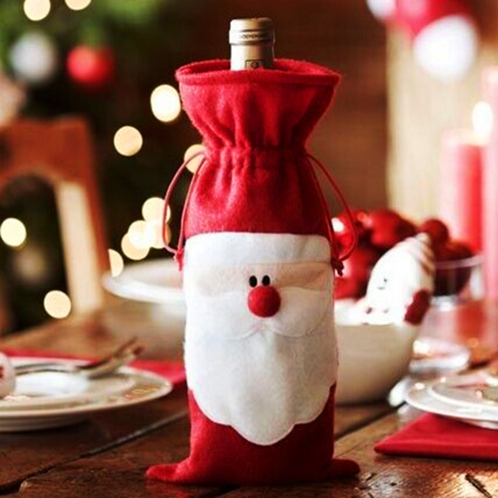 Red Wine Bottle Cover Bags Christmas Dinner Table Decoration Home Party Decors Santa Claus Christmas Supplier Free Shipping