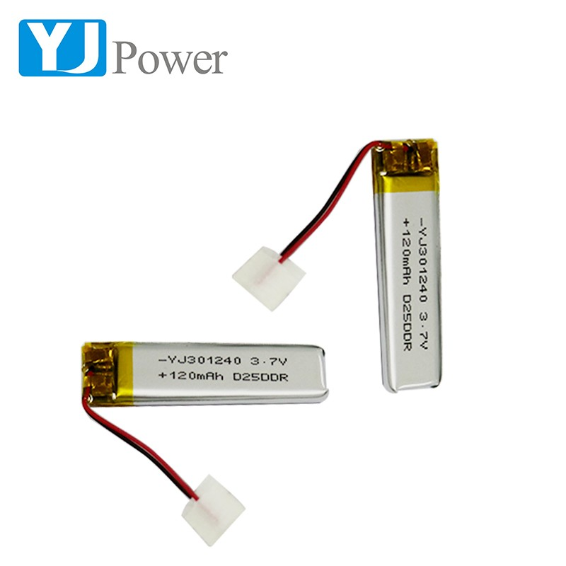 Clearance Factory price lipo battery 301240 120mah 3.7V lithium polymer battery for display feed units with PCB and Connector