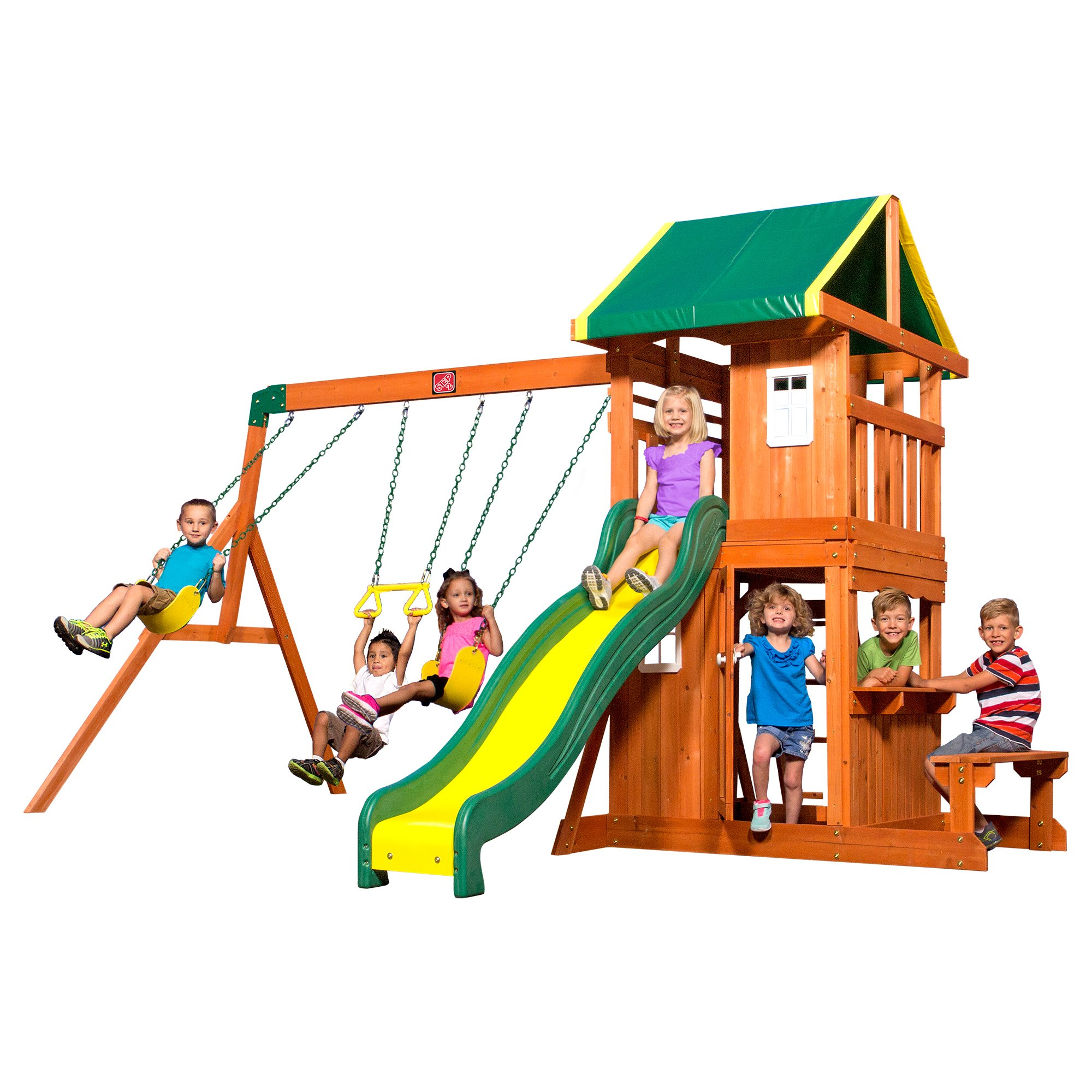 8271ac7a0a3 Get Quotations · Step2 Backyard Discovery Silver Springs Cedar Wooden Swing  Set Playset