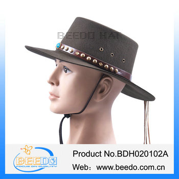 100% Wool Felt Flat Top Cowboy Hat With Leather Band And Tassel ... 36b562c2c4a