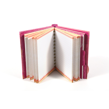 Custom printing pink A4 / A5 hard cover spiral notebook with double wire O ring