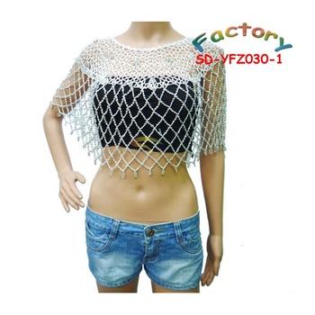 Womens Cloak Diamond Pattern Crocheted Top For Silver Beaded Blouse