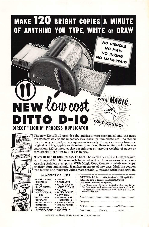 fc65b1052c9f3 Get Quotations · Print Ad 1954 Ditto New low cost Ditto D-IO Direct Liquid  Process Duplicator