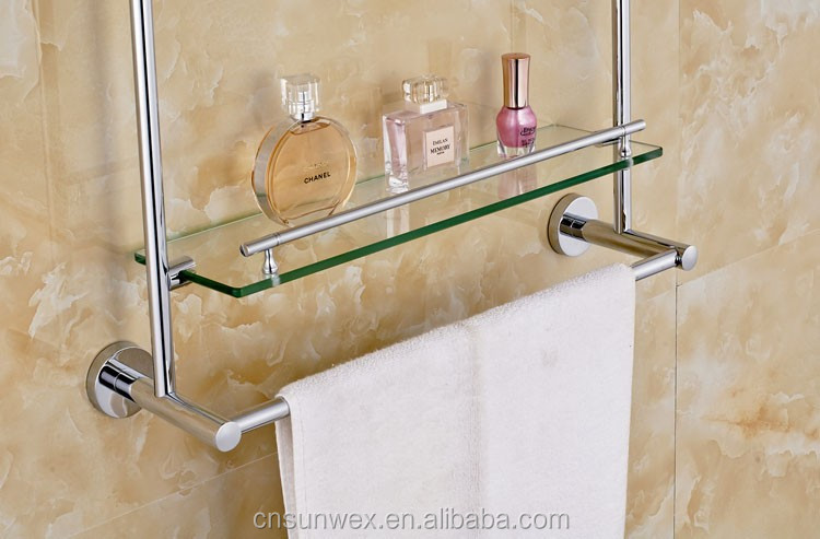 Messing badkamer accessoires dubbele glazen planken badkamer plank