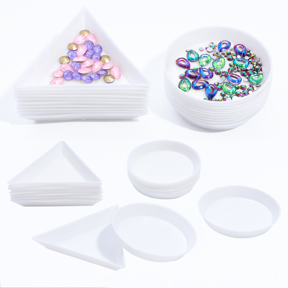 Round Triangle Plastic Rhinestone Nail Art Box Plate Tray Holder Storage Container Jewelry Glitter Cup Manicure Tool