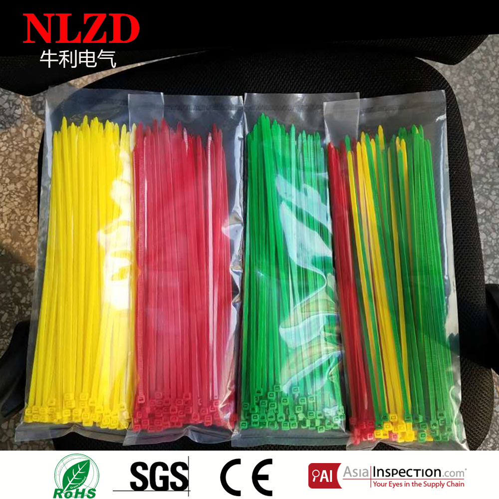 Mix Color Nylon Cable tie (4.8mm wide 300 mm long) 12 inch with Yellow Green Red Blue colors 100 pack