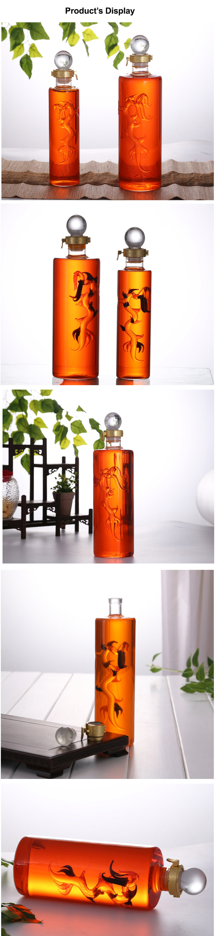 500ml 1000ml 1500ml 2500ml Heat Resistant Borosilicate Dragon Inside Clear Glass Tonic Ginseng Wine Bottle Whisky Decanter