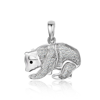 Rhodium plated 925 sterling silver polar bear pendant with any rhodium plated 925 sterling silver polar bear pendant with any type chain necklace aloadofball Images