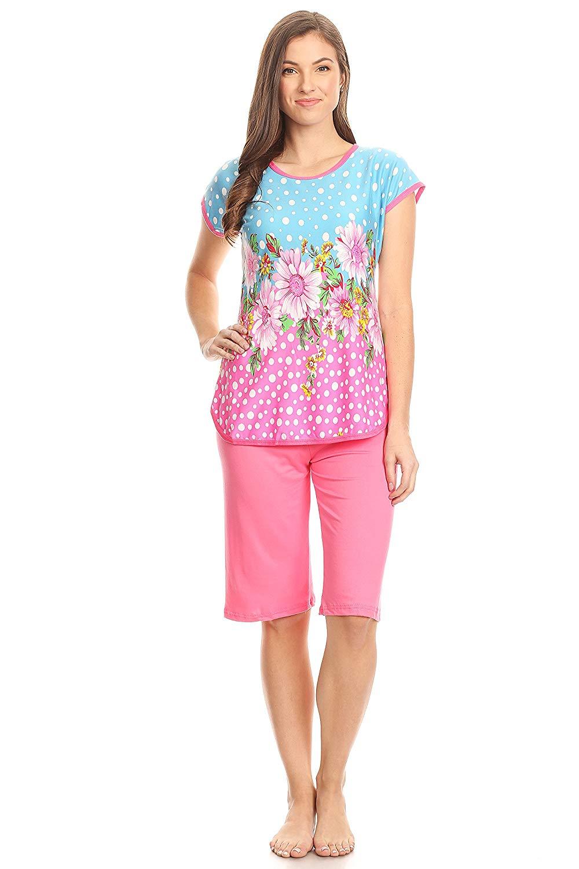 Get Quotations · 5006C Women Capri Pajama Sets Two Pieces Sleepwear df049298a