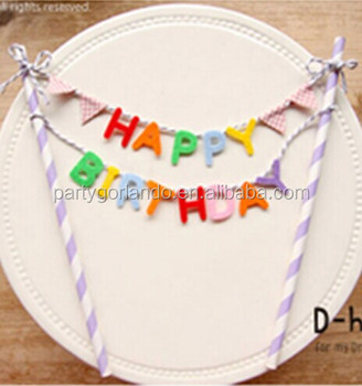 Custom Design Flag Banner Happy Birthday Bunting Printing Cake Decoration