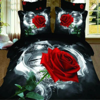 Home Use Latest Soft Reactive Printed 3D Red Rose Cotton Comforter Set , Quilt Cover Set , Bedding Set