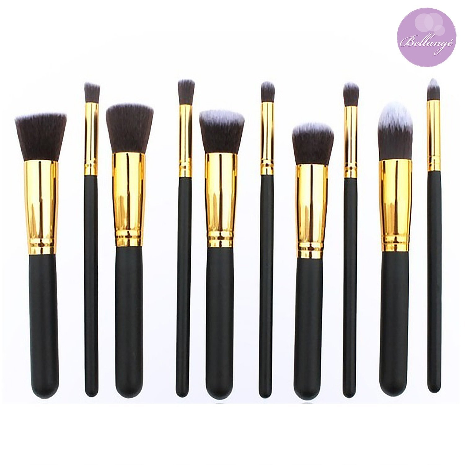 Bellangé Makeup Brush Set-10 Pieces-Kabuki Brushes-Best Makeup Brushes including Foundation Brush, Flat Top Brush, Face Brushes, Eye Brushes and Makeup Bag-Description of What to Use Each Brush For on Handles-Feel Flawless, Look Stunning, Be Beautiful-Love Your Look 30 Day Guarantee